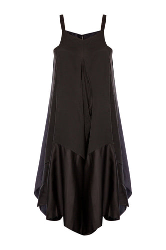 Draped Slip Dress - Black