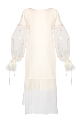Balloon Sleeve Dress - Ivory/White