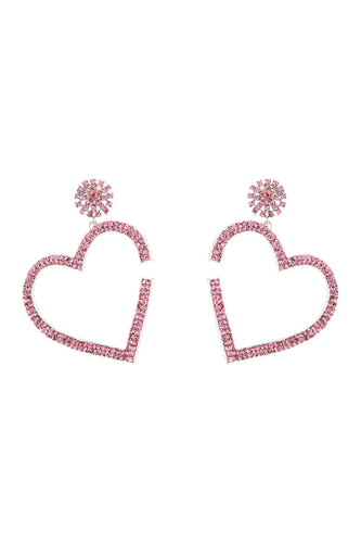 Crystal Heart Earrings - Pink