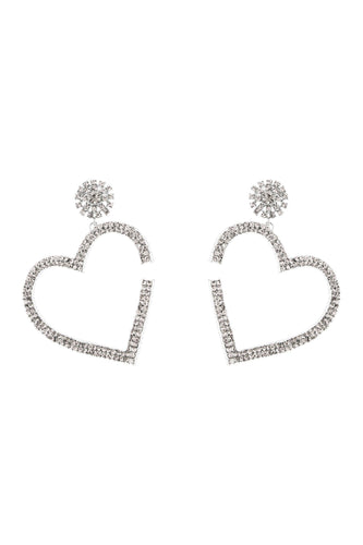 Crystal Heart Earrings - White