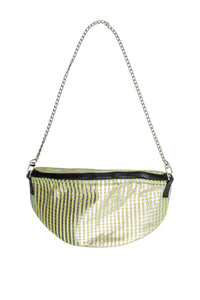 Green Stripe Metallic Handbag
