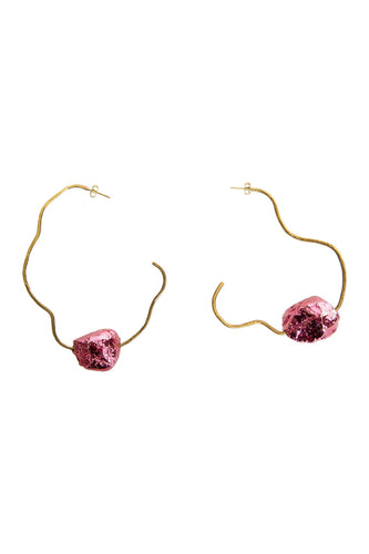Gemstone Organic Hoop Earrings