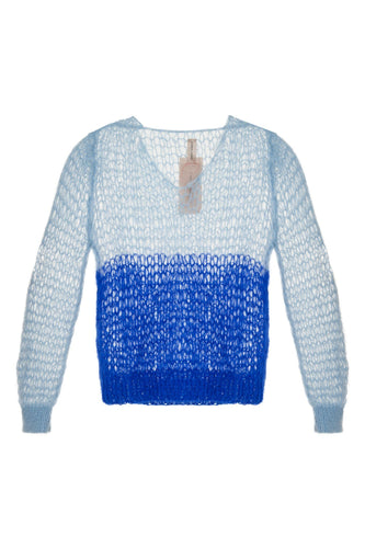 Open Weave V Neck Sweater - Blue