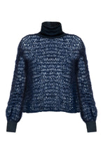 Load image into Gallery viewer, Open Weave Turtleneck - Navy