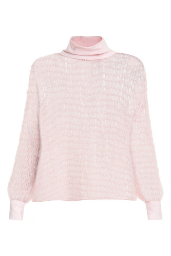 Open Weave Turtleneck - Pink