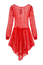 Load image into Gallery viewer, High Low Open Weave Sweater Dress