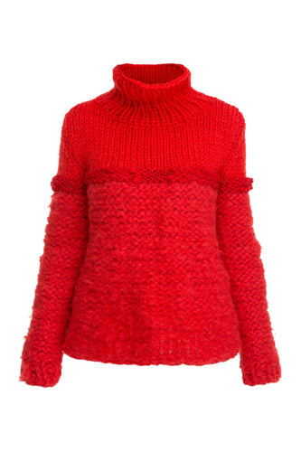 Mixed Knit Turtleneck - Red