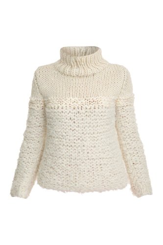 Mixed Knit Turtleneck - Ivory