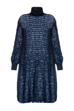Load image into Gallery viewer, Open Weave Turtleneck Knit Dress - Navy