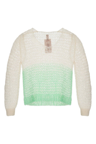 Open Weave V Neck Sweater - Green