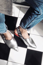 Load image into Gallery viewer, LOVE Metallic Slingbacks