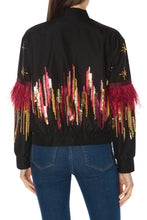 Load image into Gallery viewer, Feather Beaded Bomber Jacket
