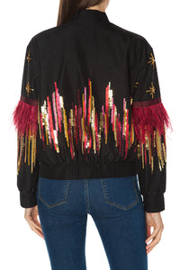 Feather Beaded Bomber Jacket