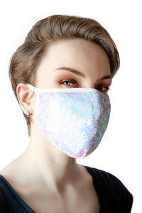 Face Mask - Blue Sequins (Filter Pocket)