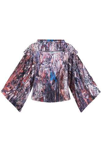 Abstract Kimono Sleeve Top
