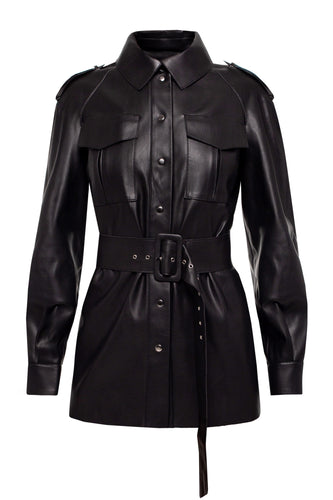Eco Leather Trench Jacket - Black