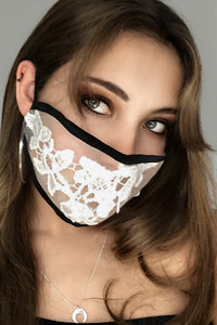 Face Mask - White Silk Organza Lace