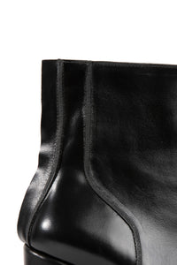 Piped Square Toe Ankle Boots