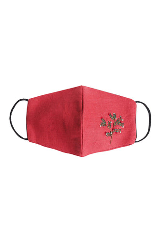 Embroidered Mistletoe Mask - Red