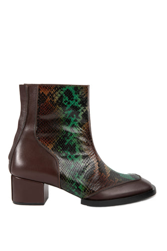 Snakeskin Square Toe Ankle Boots