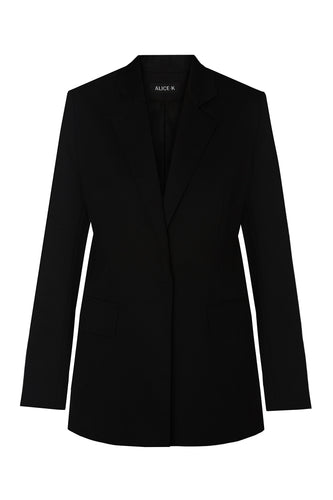 Dove Embroidered Wool Jacket - Black