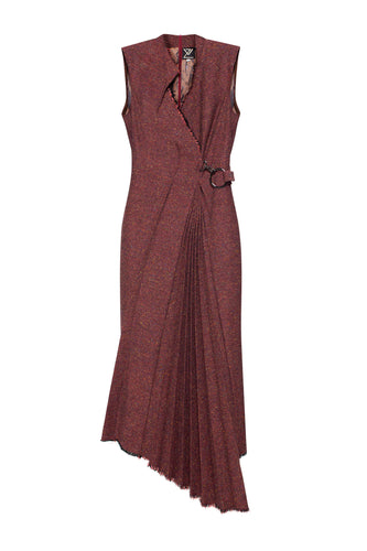 Asymmetric Pleat Wool Wrap Dress