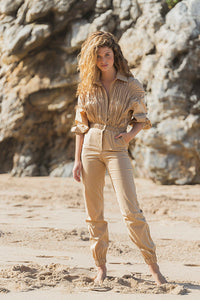 Ruched Cotton Jumpsuit