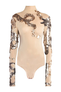 Gold Tulle Dragon Bodysuit with Handstitched Sequins
