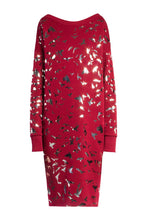 Load image into Gallery viewer, Bird Print Sweatshirt Dress - Red