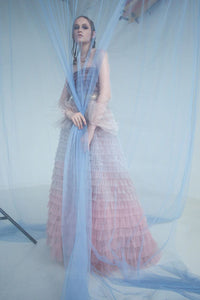 Ruffle Tier Illusion Gown