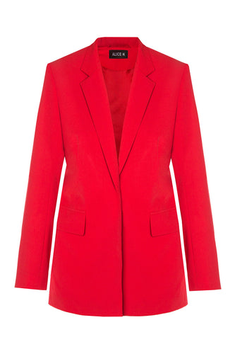 Dove Embroidered Wool Jacket - Red