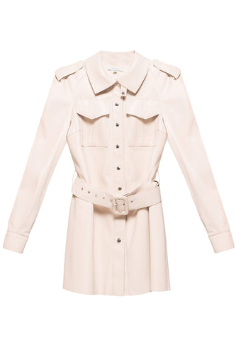 Eco Leather Trench Jacket - Ivory