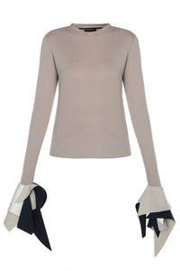 Tee with Neoprene Cuffs - Beige