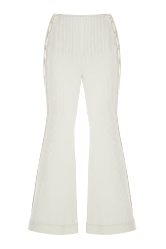 Button Flare Ribbed Pants