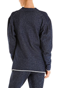 Eyes Print Sweatshirt - Navy