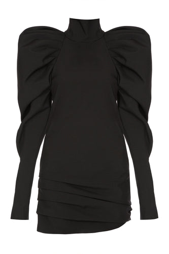 Draped Sleeve Turtleneck Dress