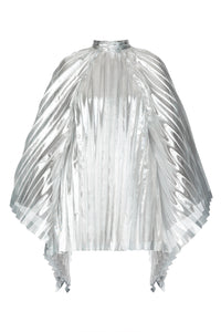 Pleated Metallic Cape Dress