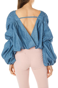 Cocoon Crop Top - Blue