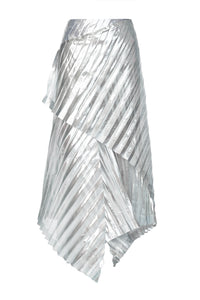 Metallic Pleated Wrap Skirt