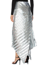 Load image into Gallery viewer, Metallic Pleated Wrap Skirt