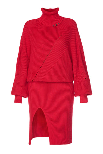 Knit Turtleneck Dress - Red