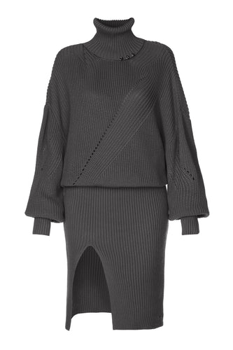 Knit Turtleneck Dress - Charcoal