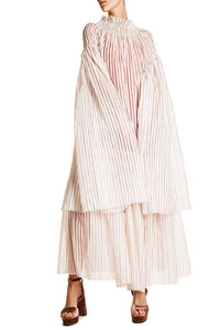 Oversized Sheer Overlay Striped Dress