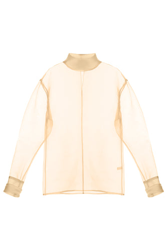 Organza Turtleneck Blouse - Beige