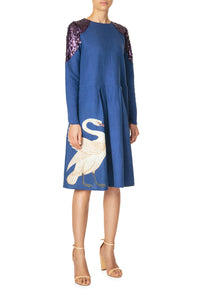 Swan Swing Dress - Navy