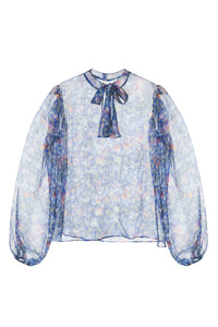 Floral Silk Metallic Blouse