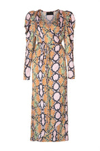 Load image into Gallery viewer, Snakeskin Pattern Wrap Dress