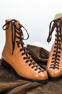 Nubuck Lace-Up Boots - Brown