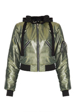 Load image into Gallery viewer, Hooded Bomber Jacket - Olive