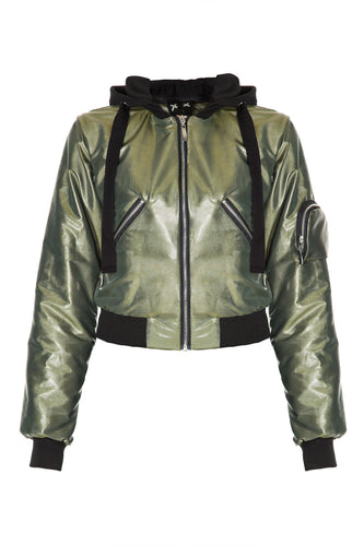 Hooded Bomber Jacket - Olive